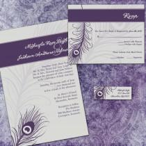 wedding photo - Custom Wedding Invitation Suite - Purple Peacock - with RSVP cards and address labels - Peacock Wedding