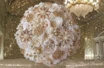 wedding photo - Blush & Ivory Brooch Bouquet, Rose Gold Bouquet, Blush Pink Ivory Brooch Bouquet, Deposit Only, Full Price 400.00-550.00