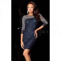 wedding photo - Navy/Silver Sequined Lace Embellished Dress by Scala Couture - Color Your Classy Wardrobe