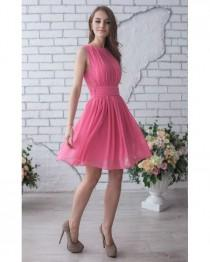 wedding photo - Pink Wedding Dress Bridesmaid Short Party Dress Pink Chiffon Pleated Sleeveless Dress Pink