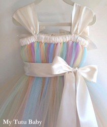 wedding photo - Pastel Rainbow Tutu Dress Birthday, Flower Girl Wedding, Photos, Girls, Baby, Toddler