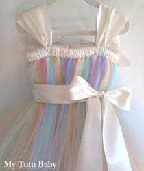 wedding photo - Pastel Rainbow Tutu Dress Birthday, Flower Girl Wedding, Photos, Girls, Baby, Toddler