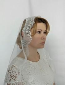 wedding photo - Mantilla Veil, Mantilla Wedding Veil, Catholic Mantilla, Chapel Veil, Wedding Veil Lace Edge Veil Lace Veil Lace Wedding Veil Fingertip Veil