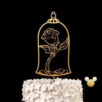 wedding photo - Enchanted Rose Wedding Cake Topper - Beauty and the Beast Keepsake Wedding Cake Toppers, Disney Wedding Cake Topper
