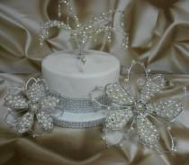 wedding photo - Wedding Cake Toppers UK -  Crystals & Pearls - Set of 3 decorations- Handcrafted to order