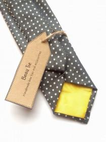 wedding photo - Mens skinny tie polka dot, mens wedding tie, dark grey mens skinny tie, mens polka dot skinny tie, wedding ties