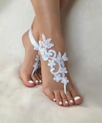wedding photo - white lace barefoot sandals, FREE SHIP, beach wedding barefoot sandals, belly dance, lace shoes, bridesmaid gift, beach shoes