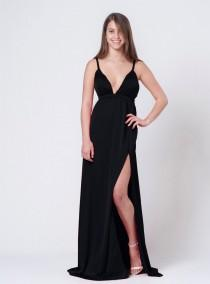wedding photo - Black Women Dress, Party Dress, Black Party Dress, Slit Dress, Cocktail Dress, Evening Dress, Satin Dress, Prom Dress, Maxi Long Dress