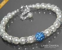 wedding photo - White Pearl Blue Crystal Bridal Bracelet Swarovski White Pearl Wedding Bracelet White Light Blue Bridal Bracelet Wedding White Pearl Jewelry