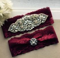 wedding photo - Burgundy Red Wedding Garter Set NO SLIP grip vintage rhinestones