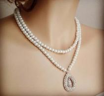 wedding photo - Bridal Pearl Necklace Wedding Pearl Necklace with Crystal Double Drop Bridal Jewelry Vintage Rhinestone Bridesmaid Necklace Glamorous Sukran