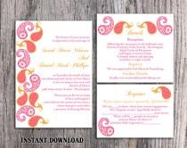 wedding photo - Bollywood Wedding Invitation Template Download Printable Invitations Editable Orange Pink Wedding Invitation Indian invitation Paisley DIY