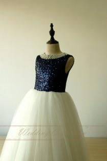 wedding photo - Navy Sequined Flower Girl Dress Birthday Dress Princess Gown with Pearls