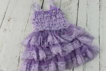 wedding photo - Lavender Flower Girl Dress Lilac Rustic Girls Dress Junior Bridesmaid Dress Country Shabby Chic Wedding Dress Light Purple Jr Bridesmaid