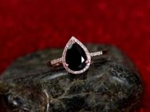 wedding photo - Black Spinel Engagement Ring & Diamond Pear Halo Goccia 2.5ct 7x10mm Custom Size White-Yellow-Rose Gold-10k-14k-18k-Platinum Diamonds