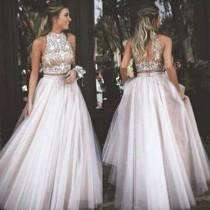 wedding photo -  Sexy Two Piece Prom/Homecoming Dress - High Neck Tulle with Rhinestone