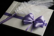wedding photo - Violet & White Wedding Guest Book   Ostrich Feather Pen Set  Purple Pen with Feather  Wishes book  Memory Book  Blank Paper Journal