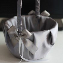 wedding photo - Gray Satin flower girl basket & ring bearer pillow set  Gray wedding flower basket   wedding ring pillow set  Gray pillow basket set