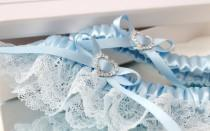 wedding photo - blue wedding garter set, blue lace garter set, something blue garter set, something blue for bride, bridal garter set, plus size garter set