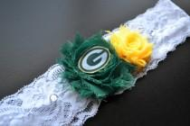 wedding photo - Green Bay Packers Wedding Garter / Green Bay Garter / Packers Wedding Garter / Wedding Garter Set / Lace Garter / Football Garter