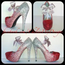 wedding photo - Glitter High Heels - Red Pink Silver Pumps - Cherry Ombre Platform Shoes - Silver Satin Bows