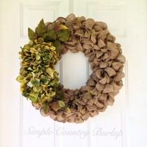 wedding photo - Shabby Chic burlap wreath accented with red orange or cream hydrangeas and greenery