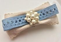 wedding photo - SOLD Cream Blue Barrette Eco Hair Clip Pearl Hair Accessory Vintage Retro Wedding Something Blue Hair Jewelry Bride Hair Comb Pin Linen Clip