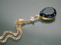 wedding photo - Navy Blue Gold Crystal Necklace Blue Gold Teardrop CZ Necklace Swarovski Montana Rhinestone Necklace Wedding Bridal Dark Blue Gold Jewelry