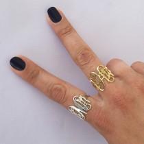 wedding photo - On Sale 40%- Monogram Ring - Personalized Monogram Ring - Initials Ring - Monogrammed Ring - Bridesmaid Gift - Wedding Gift - gift for bride