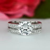 wedding photo - 60% off 2.25 ctw Solitaire Wedding Set, Channel Set Accented Bridal Rings, Man Made Diamond Simulants, Engagement Ring, Sterling Silver