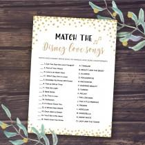 wedding photo - Disney Bridal Shower Games, Match the Disney Love Songs Game, Instant Download, Wedding Shower, Romantic Quotes, Bachelorette Party, Gold
