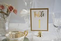 wedding photo - Gold Foil Table Numbers Handmade Wedding