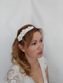 wedding photo - Bridal Flower Headband, Bridal Flower Hairpiece, Wedding Flower Headband, Bridal Flower Crown with Silk Flowers