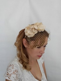 wedding photo - Gold Birdcage Veil, Gold Bridal Headpiece, Gold Veil, Veil with Flower Headband, Birdcage Headband Veil, Birdcage Veil headband