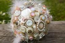 "wedding photo - The ""Something Old'' Vintage Button and Brooch Bouquet"