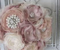 wedding photo - Fabric Bridal  Wedding Bouquet, Brooch Bouquet, Vintage Style Bridal Bouquet, Handmade Fabric Bouquet, Weddings, Dusty Rose Pink