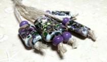 wedding photo - Lampwork beads handmade Beads supplies jewelry Beads for jewelry making Murano beads Set beads Beads SRA Beads purple, green, ivory, pink.