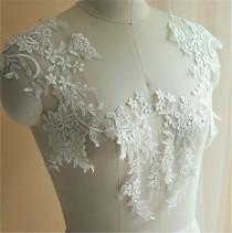 wedding photo - Lace Embroidery Motif, Wedding Lace Applique, Floral Lace Motif Trim, Bridal lace Applique, Ivory Cotton Wedding Accessory, 1 Piece