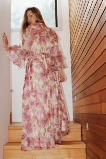 wedding photo - Bohemian Bridesmaids Dress - Long Sleeve Boho Dresses - Romantic Wedding Dresses - Chiffon Maxi Dresses - Floral Maxi Dress Wedding