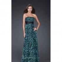 wedding photo - 2014 Cheap Strapless Printed Gown by La Femme 15914 Dress - Cheap Discount Evening Gowns