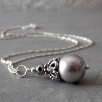 wedding photo - Gray Pearl Bridesmaid Necklace, Beaded Pendant, Bridal Jewelry, Silver Pearl Necklace, Grey Wedding Jewelry, Maid of Honor Gift