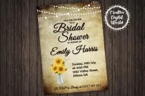 wedding photo - Bridal Shower Invitation Sunflowers Paper String Lights Sunflower Personalized Printable Rustic Mason Jar Wedding Country Romance Download