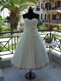 wedding photo - Polka Dot Tea Length Wedding Dress With Colourful Petticoat