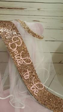 wedding photo - Bride to be Bridal Shower sash Theme - Hen Party Sash and veil - Bachelorette sash bachelorette veil - Bride to be - gold glitter handmade