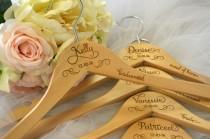 wedding photo - 6 Bride Hangers, Wedding Dress Hanger, Personalized Hanger, Mrs Hanger, Bridesmaid Hangers, Wedding Hanger, Name Hanger, Bridal Hanger, Gift
