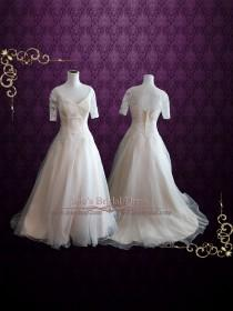 wedding photo - Organza Lace Ball Gown Wedding Dress with Short Sleeves
