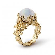 wedding photo - CORAL Rainbow Moonstone Ring, Gold Moonstone Ring, 14K Yellow Gold Ring, Gold Moonstone Engagement Ring, Large Moonstone Ring