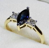 wedding photo - 1.2CT Marquise Cut Natural Blue Sapphire & Diamond Engagement Ring In Solid 18K Yellow Gold