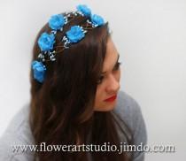 wedding photo - Blue Floral Crown, Sky Blue Headband, Malibu blue Bridal Floral Crown, Bridal Hair Wreath, Flower Girl Hair Wreath, Wedding Headband.