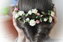 wedding photo - Flower Hair Garland Bridal flower crown Wedding Hair Flowers Head Wreath Flower Crown Cherry Blossoms White Bridal Wreath Floral Hair Crown